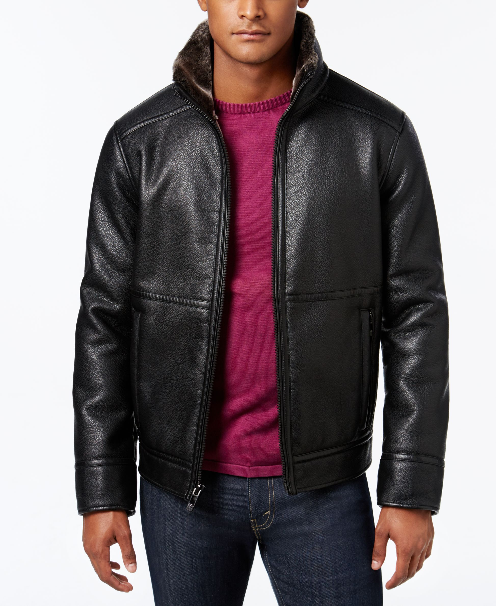 943bd47ee Calvin Klein Men's Pebble Faux-Leather Jacket with Faux Fur Lining ...