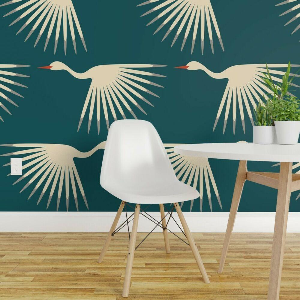 Peel And Stick Removable Wallpaper Cranes 1920s Blue Birds Geometric Flying Spoonflower Artdeco Art Deco Wallpaper Removable Wallpaper Art Deco