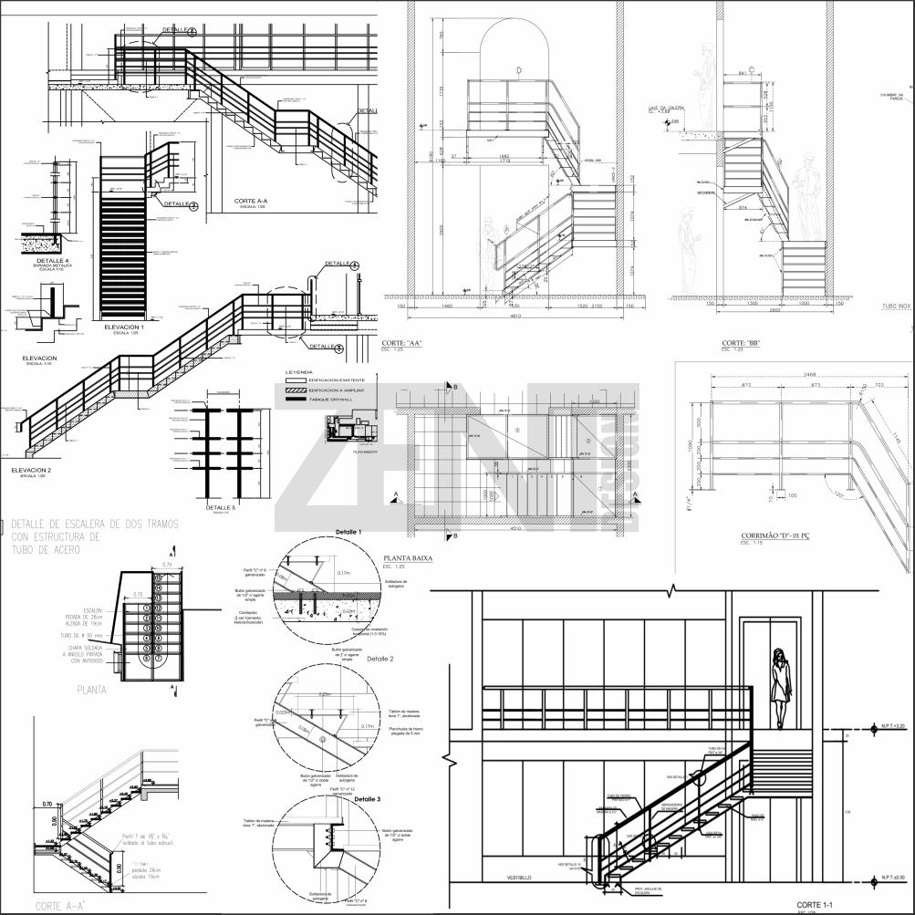 zent design 2d escaleras de metalicas planos
