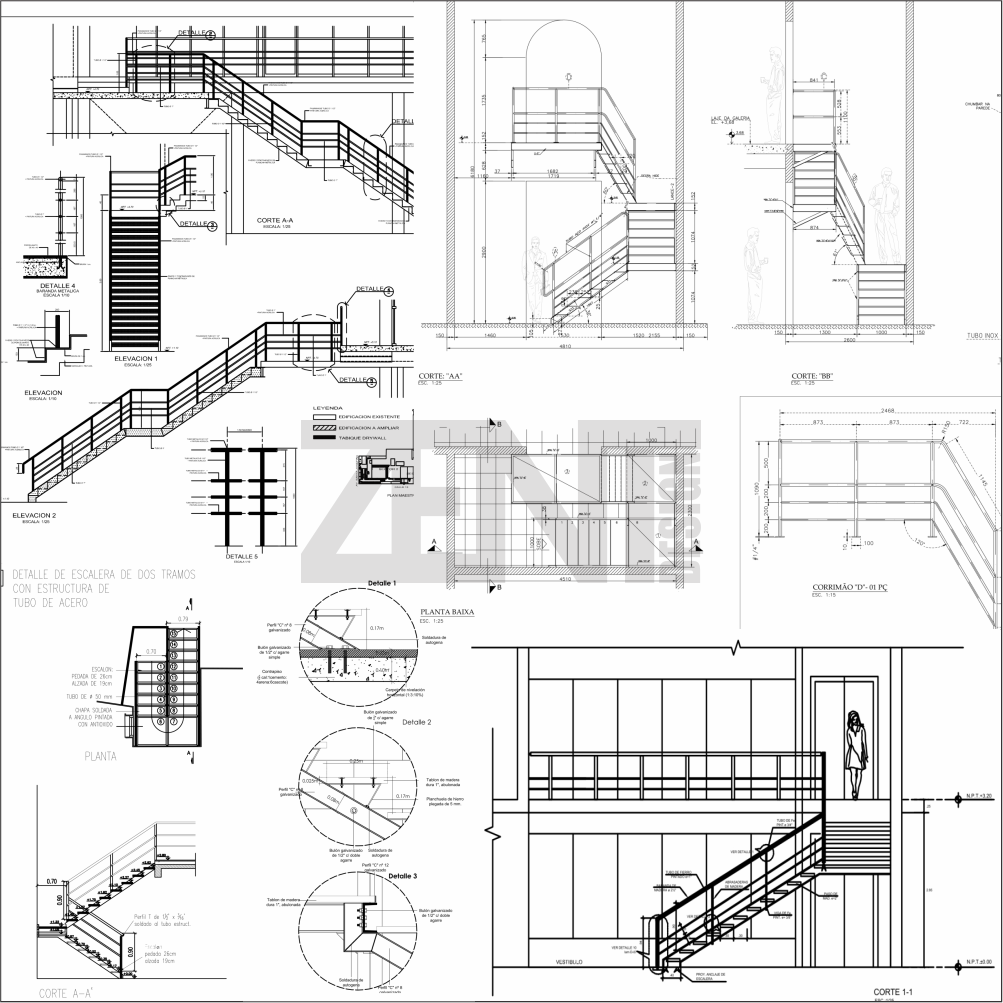 Zent design 2d escaleras de metalicas planos stair plan stair detail steel