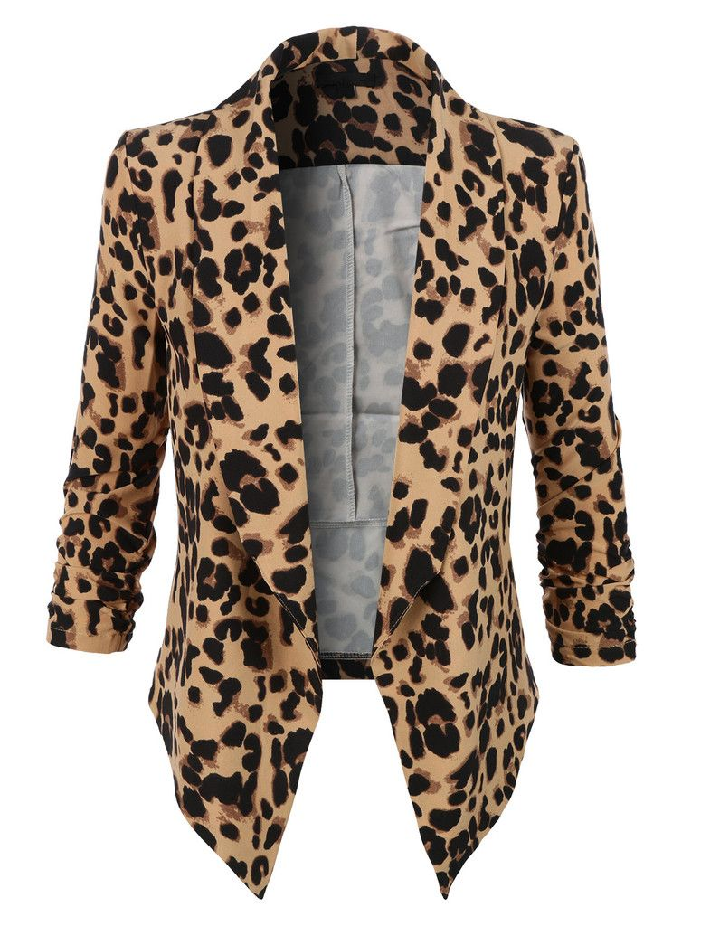 4099a2cac3 LE3NO Womens Leopard Print 3 4 Sleeve Draped Open Front Blazer ...