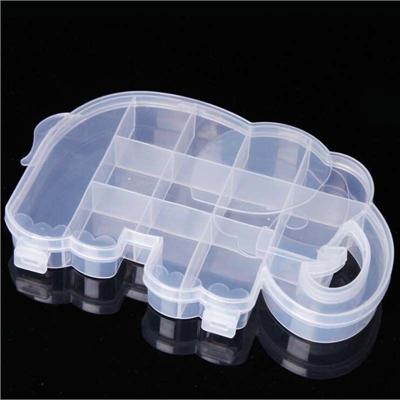 Cartoon Elephant Clear Plastic Storage Box Jewelry Organizer Holder