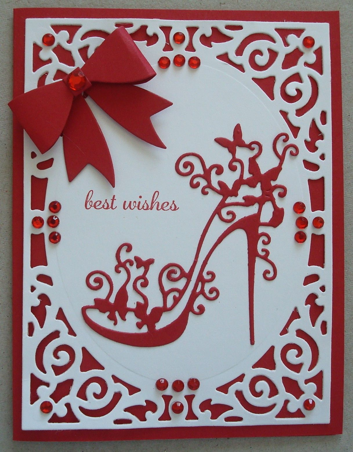 Card Making Ideas Using Tattered Lace Dies Part - 37: G091 Hand Made Birthday Card Using Tattered Lace High Heel Glam Shoe Die,  Spellbinders Filigree