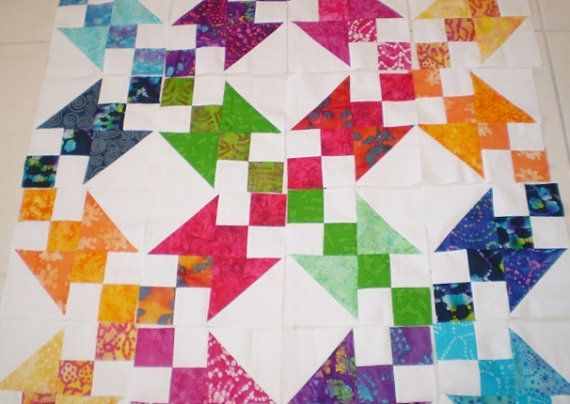 Quilt topBatik Quilt blocksUnfinished quilt by happyquilts on Etsy, $42.00