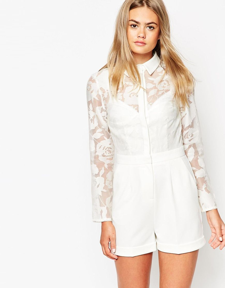 03afb4d41842 ASOS Romper with Sheer Flower Blouse