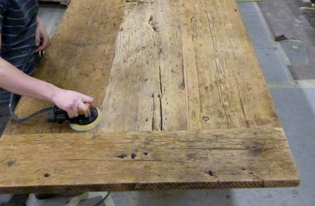 reclaimed Hemlock threshing floor unfinished  HarvestFarm Tables