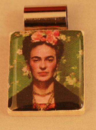 Frieda Kahlo image on recycled Scrabble tile by BeadyEyedBird, $15.00