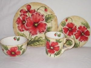 Love these Maxcera Dishes & Maxcera rustic poppies poppy floral 12 pc dinnerware set new ...