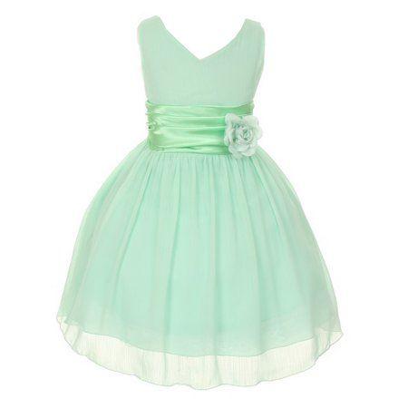 0cec62d6bbb Little Girls Mint Yoru Chiffon Double V-neck Flower Girl Easter Dress 2-6 -  Walmart.com
