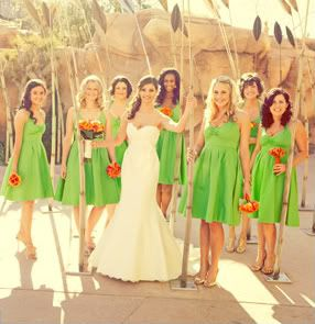 973c729cd11 The chartreuse dresses with orange flowers are such a beautiful and ...