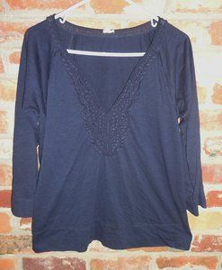 $29.95 OBO Women's J. Crew Navy Blue Embroidered V Neck 3/4 Sleeve Shirt Top Size: Large Free Shipping