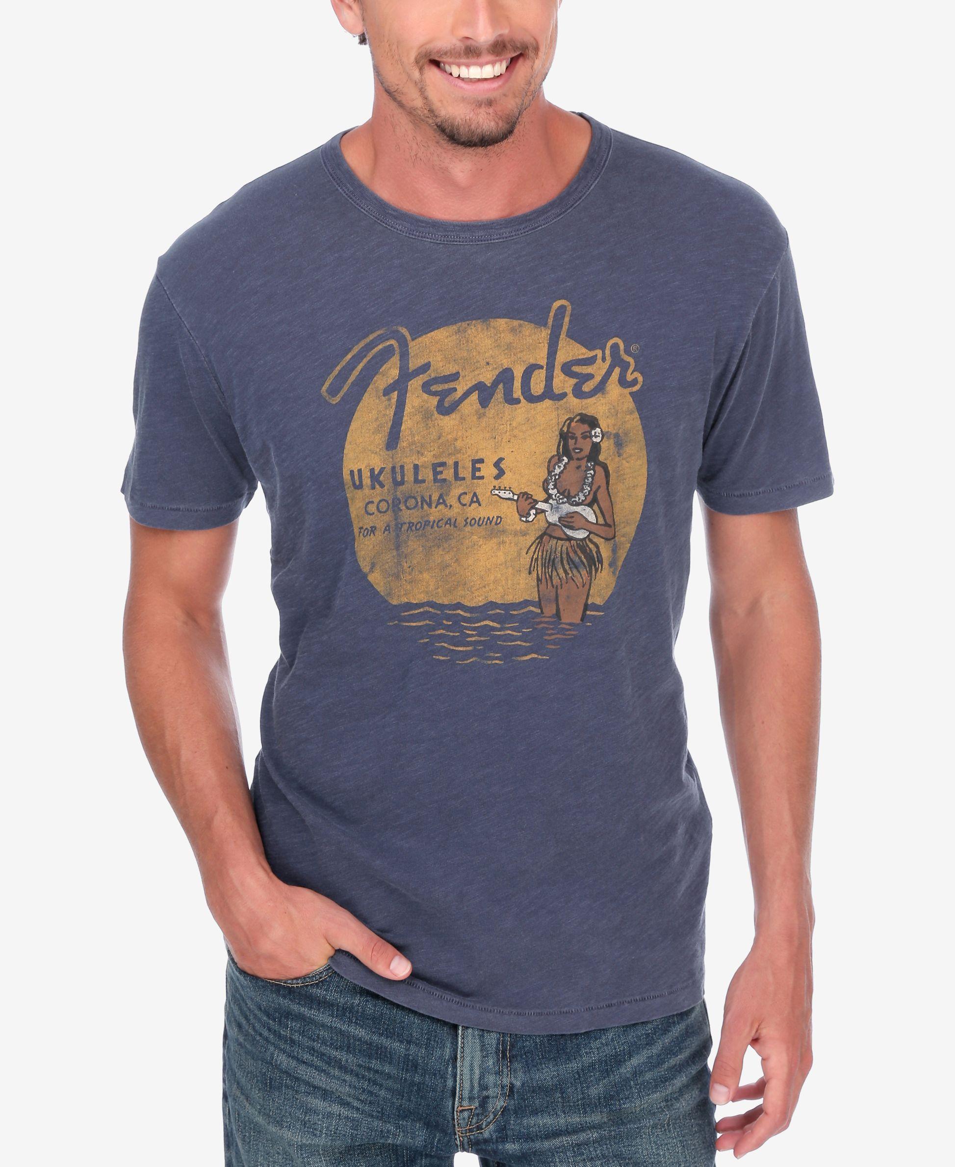 ab3db0f21 Lucky Brand Men's Fender Ukulele/Hula T-Shirt   Vintage Hawaii   Men ...