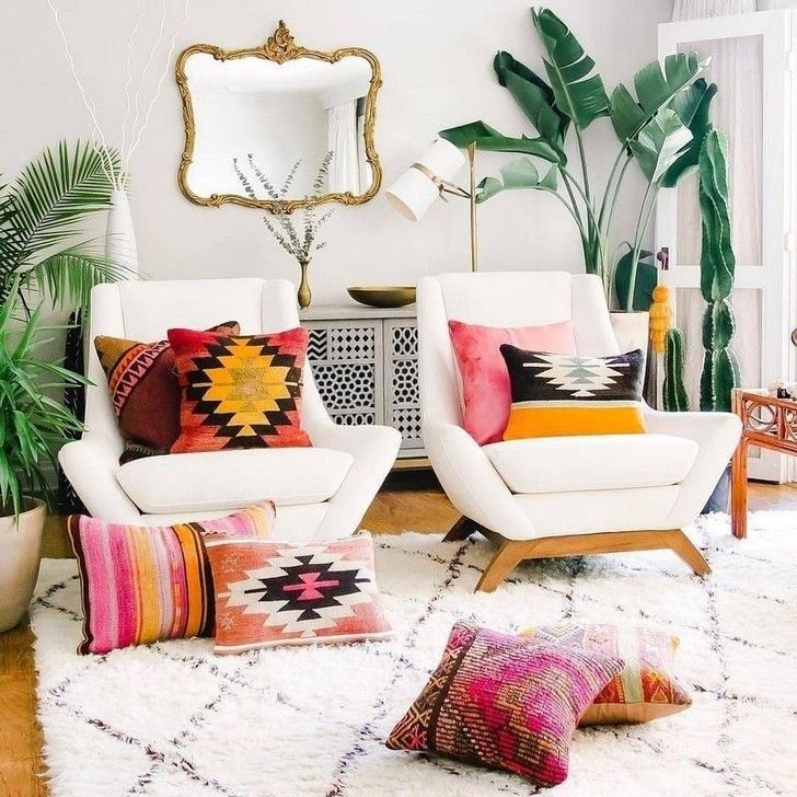 30+ Beautiful Rustic Bohemian Living Room Design Ideas