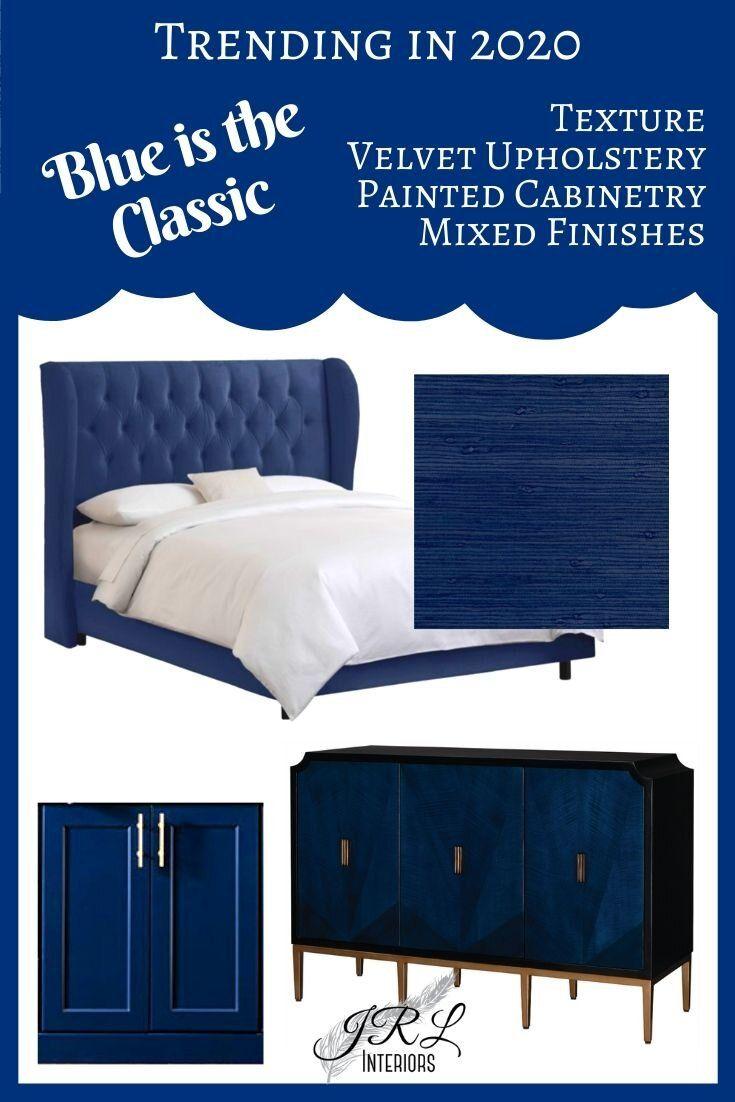 Navy Velvet Tufted Bed   |   Blue Grasscloth Wallpaper   | Blue Console Chest | Blue Custom #blue #colortrend #2020 #Cabinetry #interiordesign #interiordesignideas #homedesign #interiordecor #homedesignideas #interiorinspiration #homedecor #customdesign #customhome #homeremodel