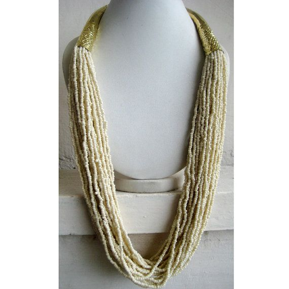 Off White Necklace/Statement Necklace/Long by FootSoles on Etsy, $28.90