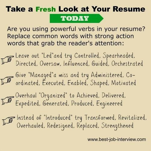 Resume Action Words To Create A Powerful And Convincing