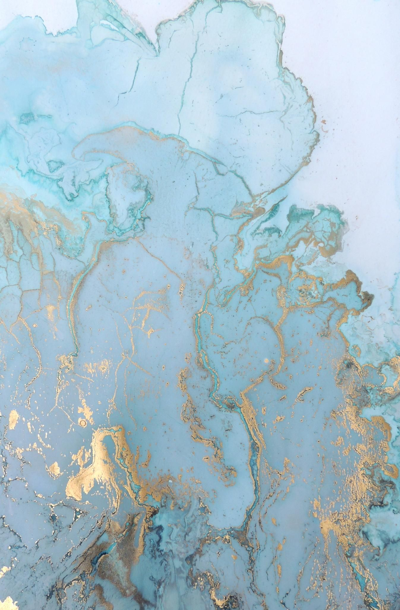 Gold Flecked Marble-esque Material Textures Painting Art Blue Wallpapers