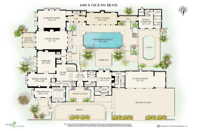 Luxury Real Estate In Palm Beach Fl United States Oceanfront Mizner Villa Tranquilla Jamesedition Beach Mansion House Layout Plans Mansion Floor Plan