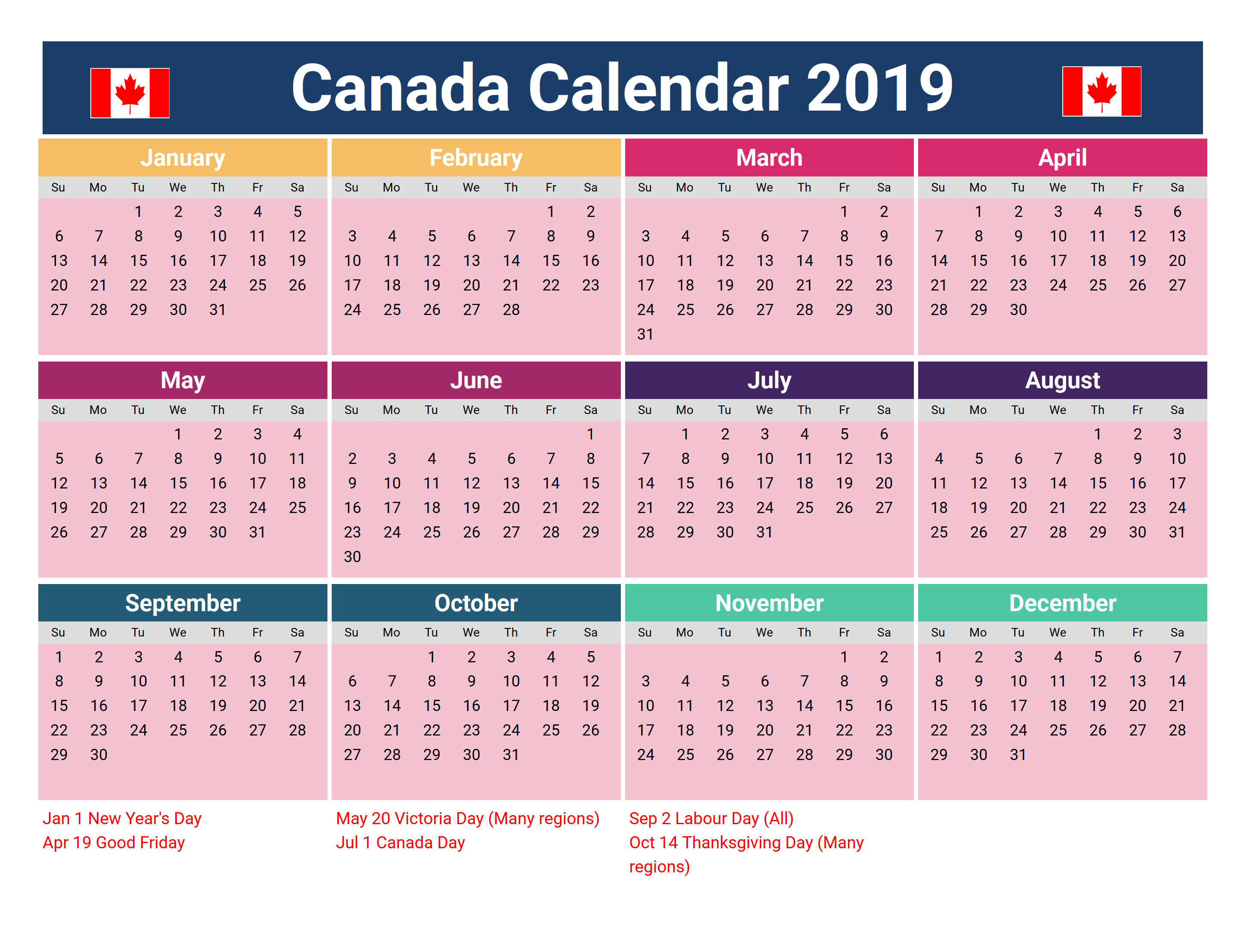 2019 Canadian Calendar canada 2019 holidays printable calendar | 2019 Calendars | Holiday
