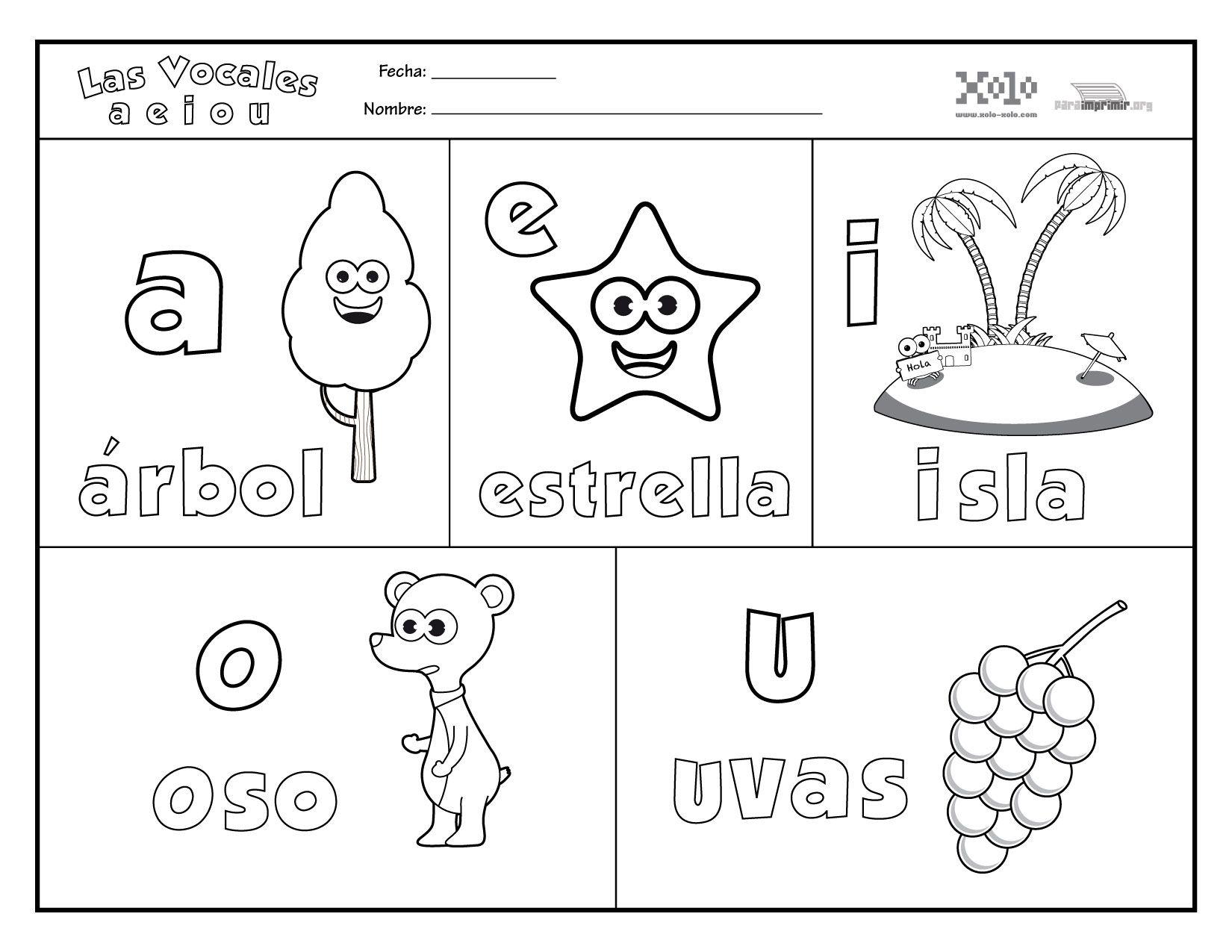 Dibujos Para Pintar Vocales Gere Dibujos Para Preescolar