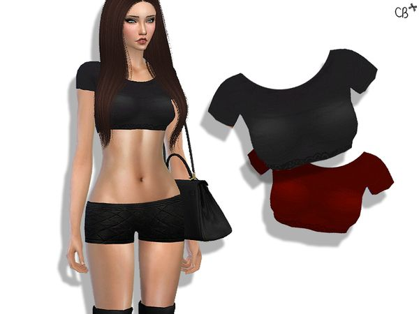 The Sims Resource: Distress top by CherryBerrySim • Sims 4 Downloads