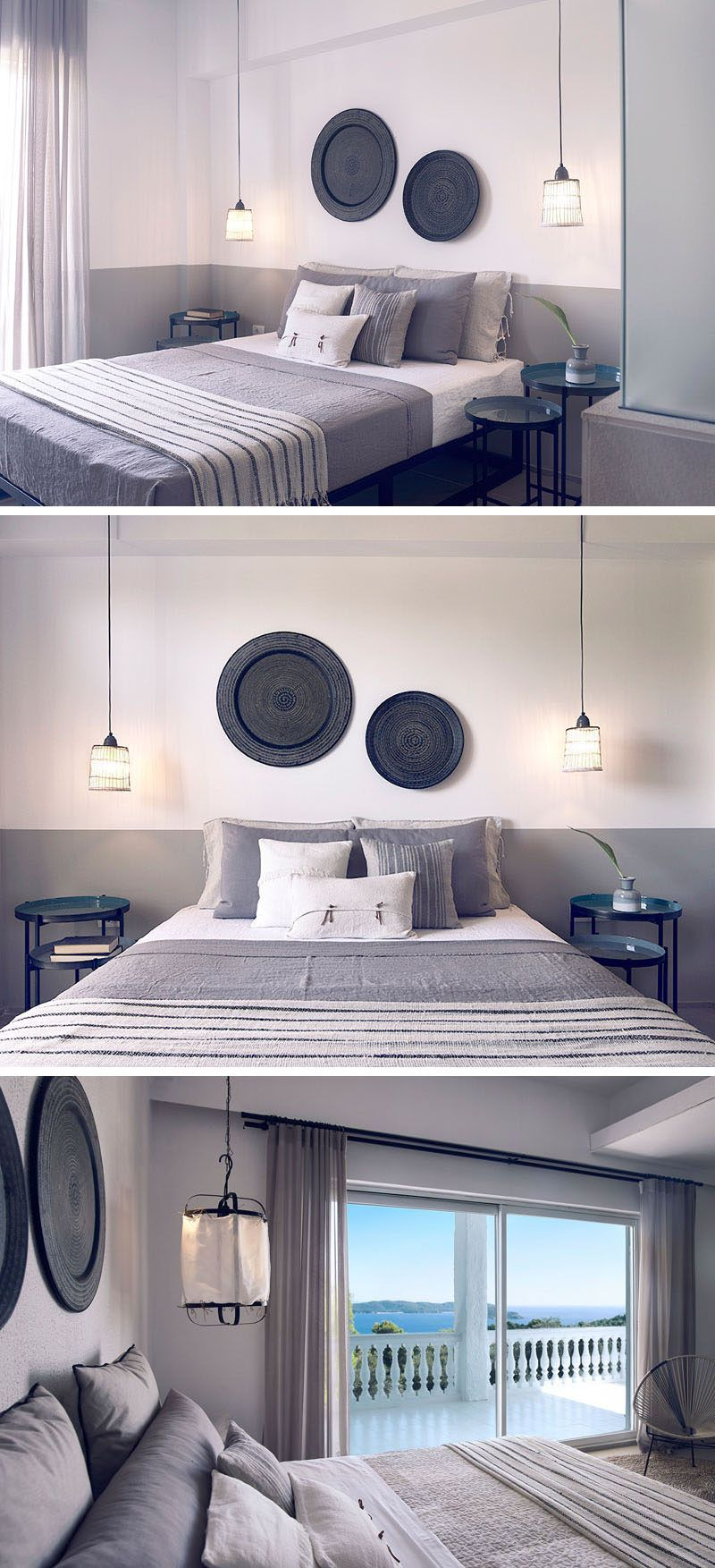 Beau This Modern Hotel Room From A Hotel In Greece, Has White Walls With A Lower  Grey Stripe, Decorative Floor Tiles, Wall Decor And Glass Room Dividers ...