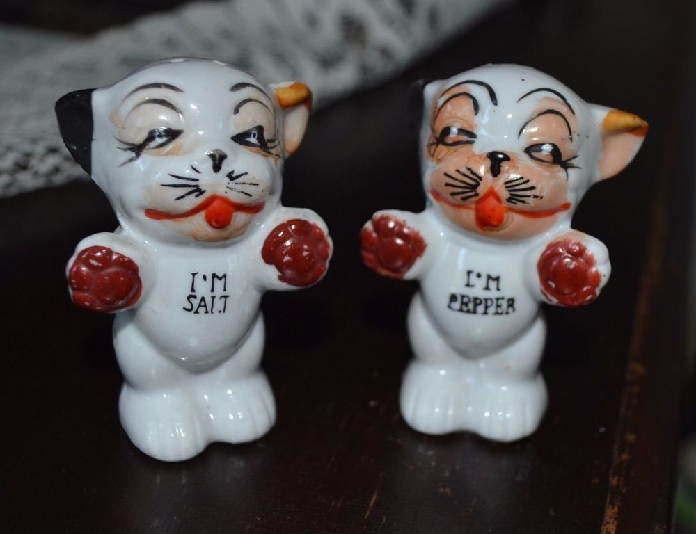 Salt Pepper Shakers Vintage Bonzo Dog And Pepper Shakers Japan 1930 S Salt. Cheerful  Cool ...