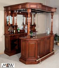 6.5Ft Solid Mahogany English Canopy Pub Liquor Wine Bar w/ Brass Rails