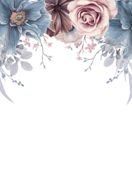 Dusty Blue and Mauve Floral Save the Date Announcement Postcard | Zazzle.com