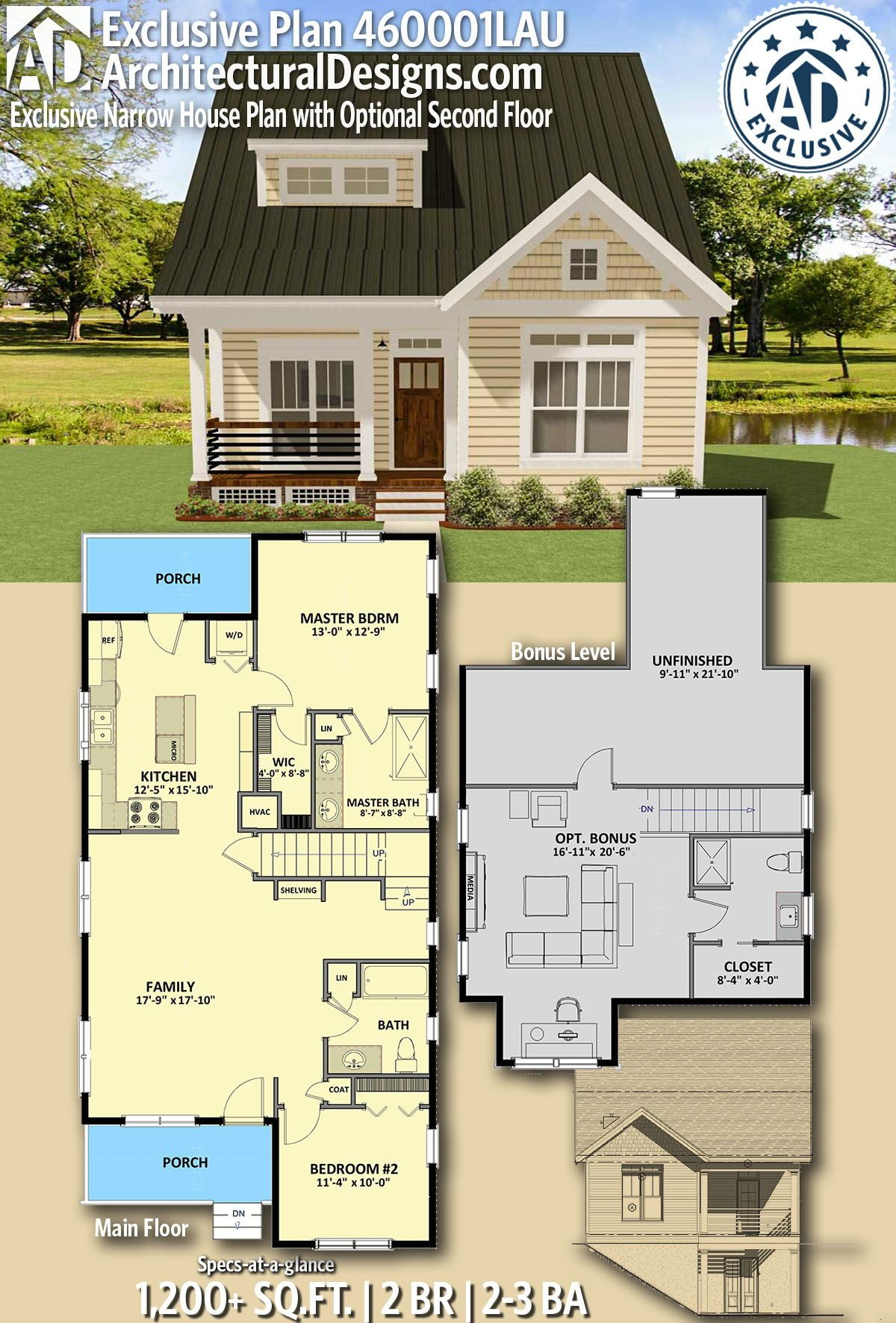 Plan 460001la Exclusive Narrow House Plan With Optional Second Floor Narrow House Plans Sims House Plans Small House Plans