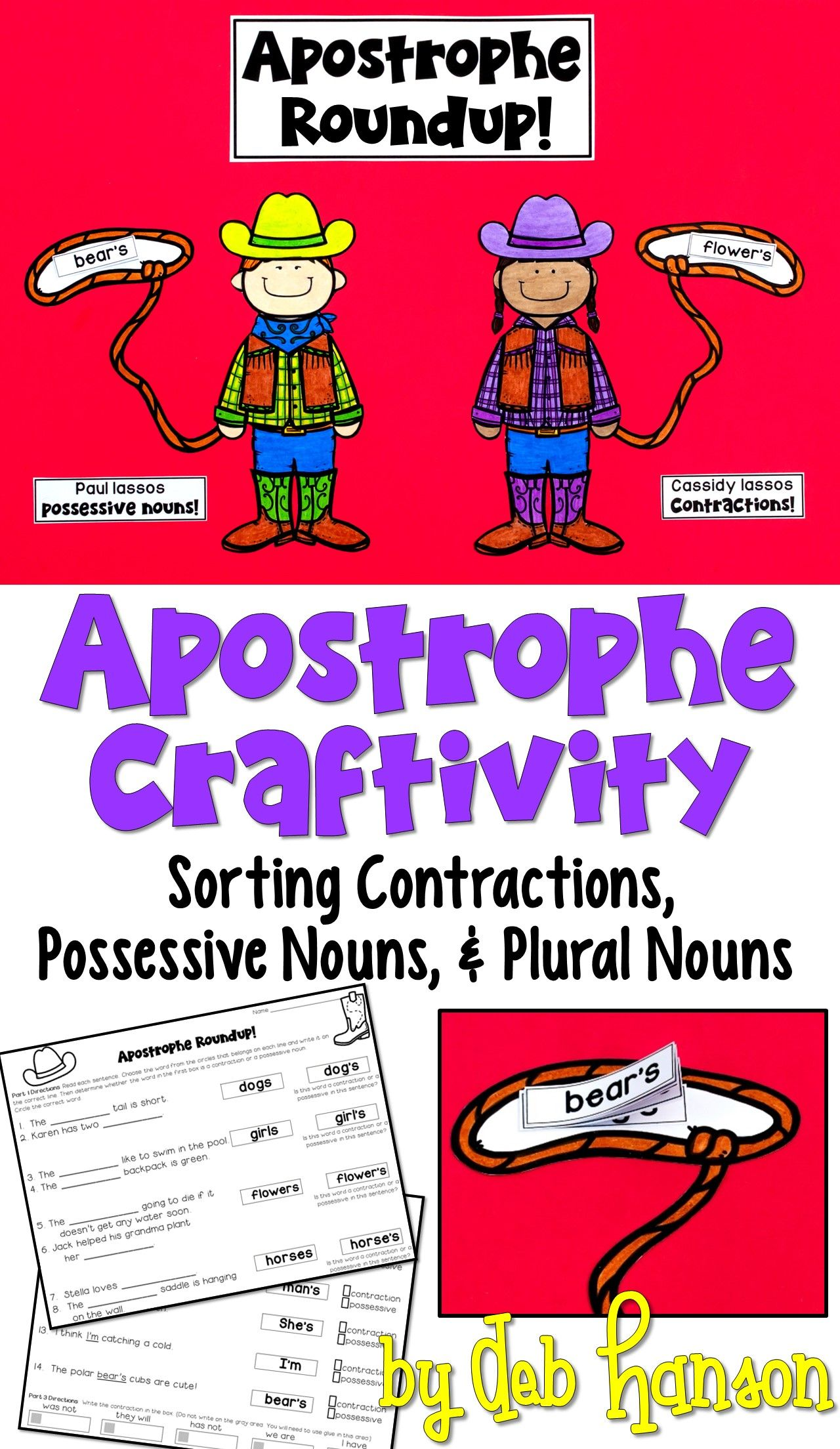 Contractions And Possessives Craftivity Apostrophe Sort