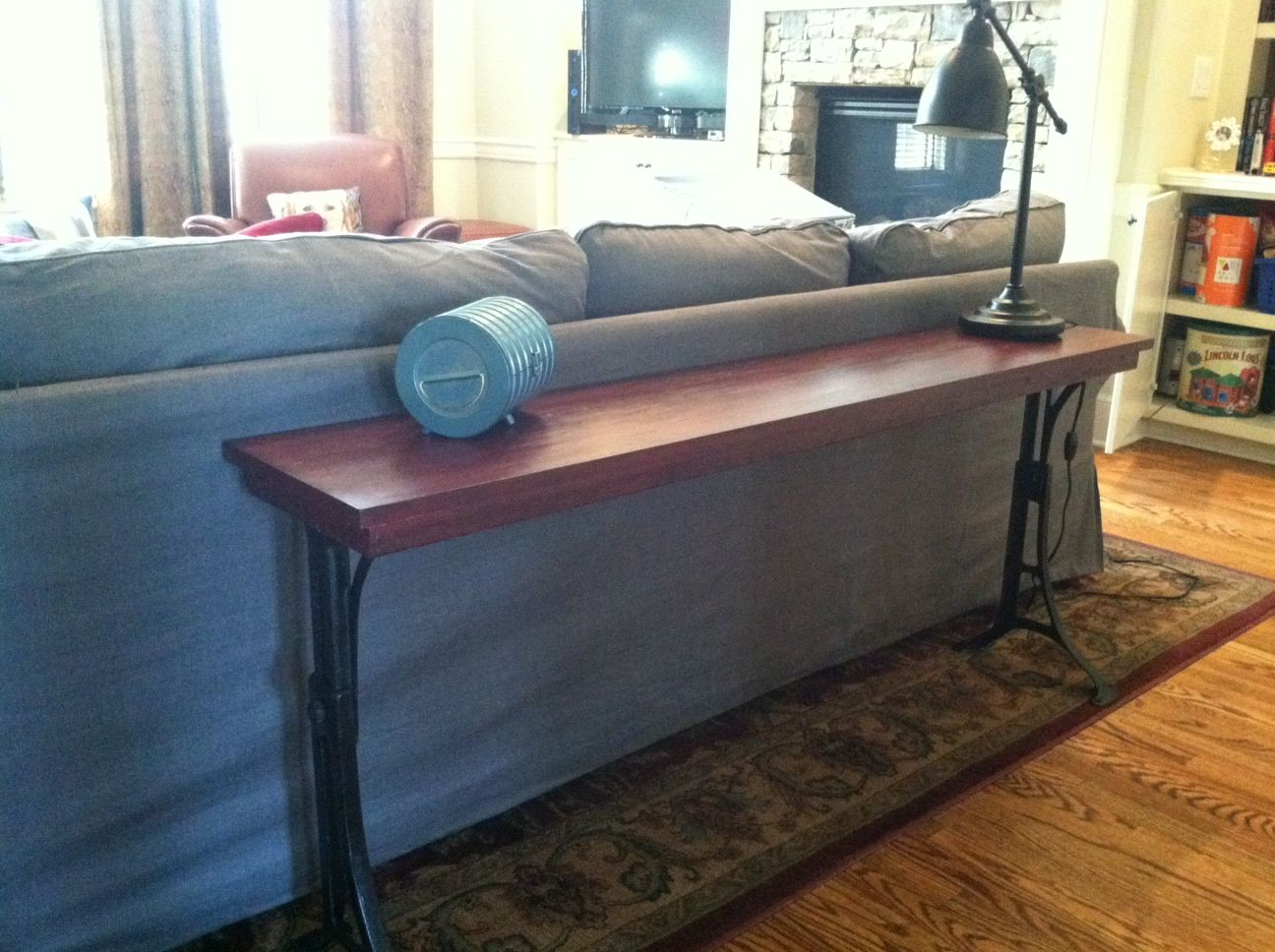 DIY Console Table legs=industrial cast iron legs from
