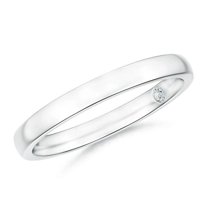 Plain Wedding Band With Secret Diamond Angara Com Gold Diamond Wedding Band Plain Wedding Band Halo Engagement Ring Wedding Band