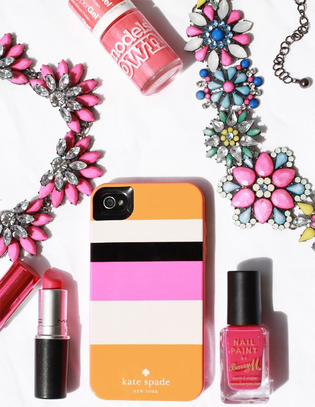 Neon bright accessories - Fiorelli necklaces, Kate Spade NY phone case, Barry M and Models Own polishes, MAC lipstick in Impassioned