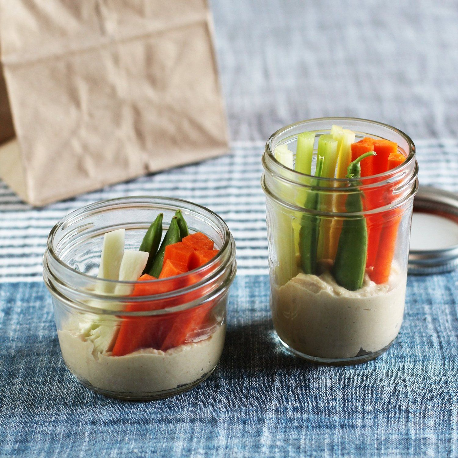 Smart Snacking:  Pack Veggies & Dip Together in a Jar   Tips from The Kitchn... More dip ideas in comments!