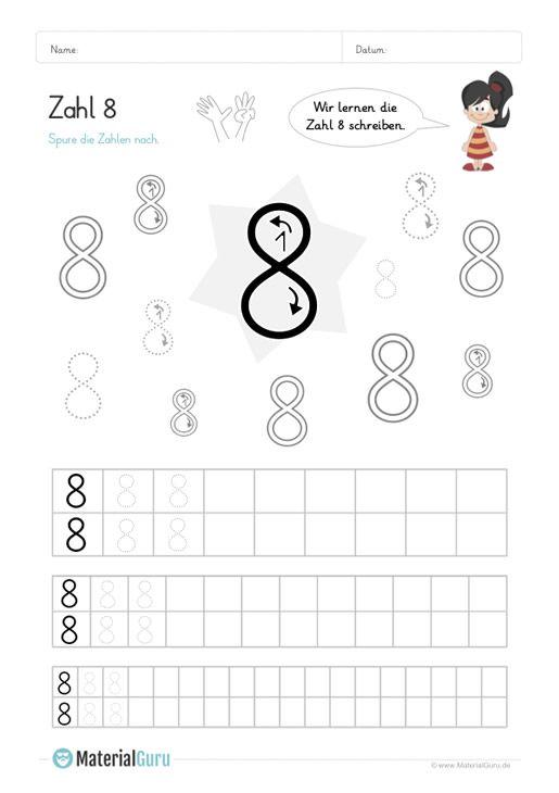 Ein Kostenloses Mathe Arbeitsblatt Zum Schreiben Lernen Der Zahl 8 Auf Dem Die Kinder Die Zahl 8 In Verschiede Schreiben Lernen Zahlen Schreiben Lernen Lernen