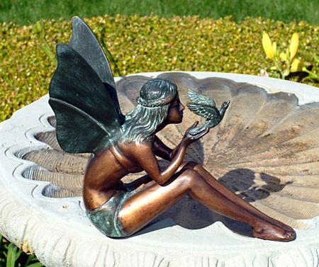Exceptional Fairy U0026 Bird Bronze Sculpture   Ships Separately. FaeriesFairy StatuesGarden  ...