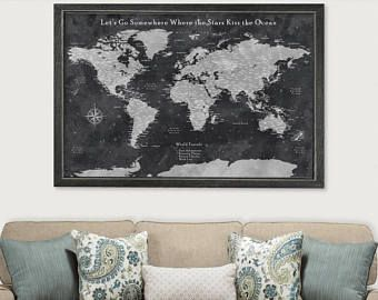 Travel map personalized framed world map for pinning cotton travel map personalized framed world map for pinning cotton anniversary gift for wife unique push pin gumiabroncs Gallery