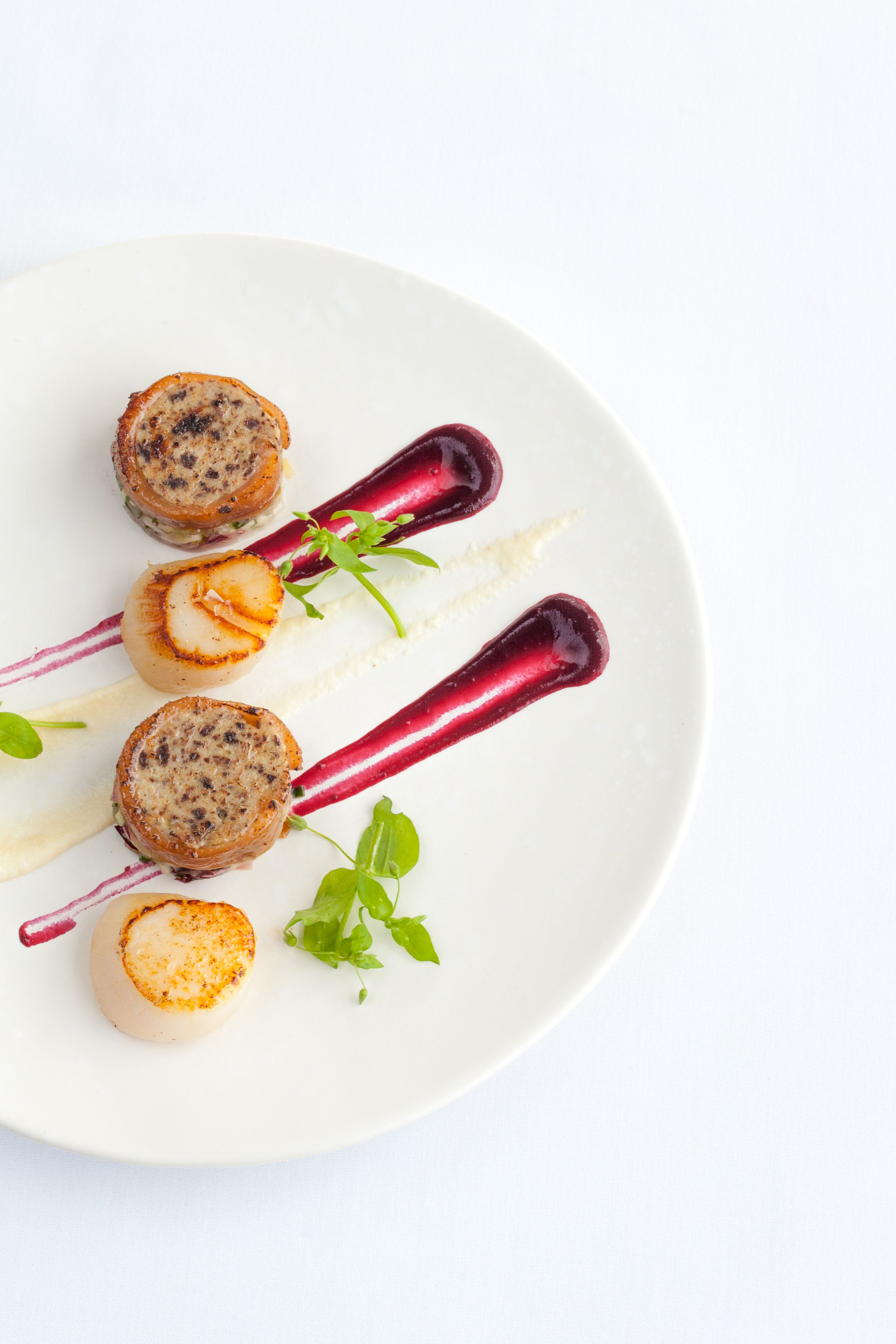 Seared scallop, black pudding stuffed pig\'s trotter and celeriac ...