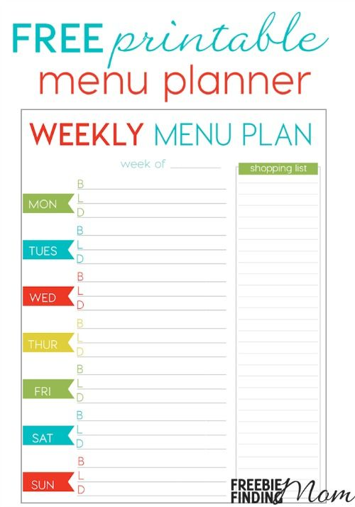 free weekly menu planner printable ten dollar diy pinterest