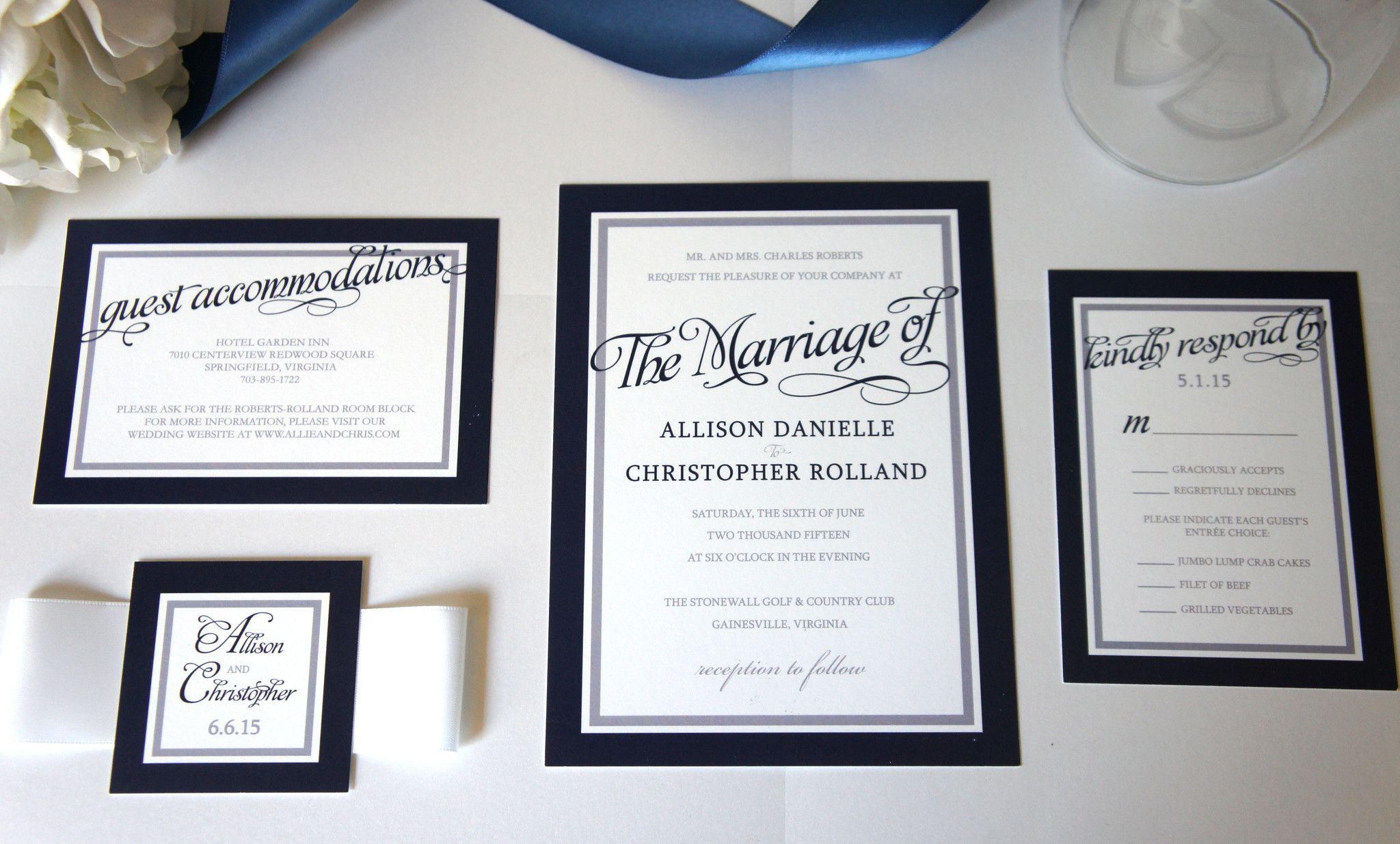 Navy Blue Wedding Invitation Sample Set Cheap Wedding