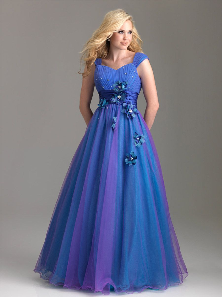 Empire Off-the-shoulder Tulle Blue Plus Size Prom Dresses/Evening Dress With Hand-Made Flower #BUSA0241662