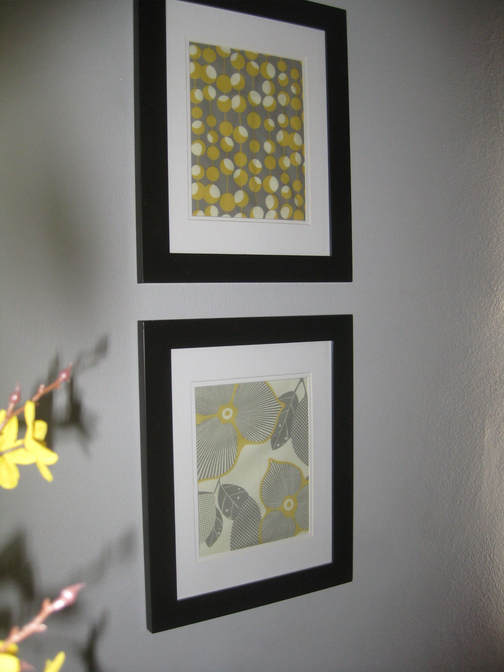 Framed Art Bathroom Yellow Grey Framed Fabric Art My Own Pinterest Grey Art And