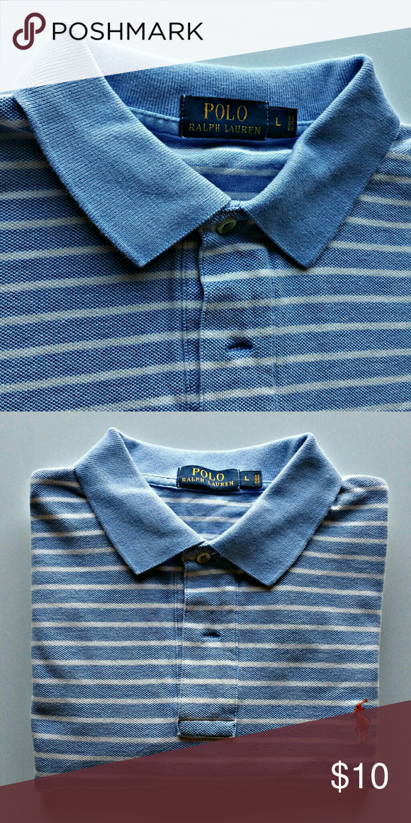 cf05c8a274 Men's Striped Ralph Lauren Polo Shirt Striped Polo, men's large. Blue and  White with orange horse! Polo by Ralph Lauren Shirts Polos