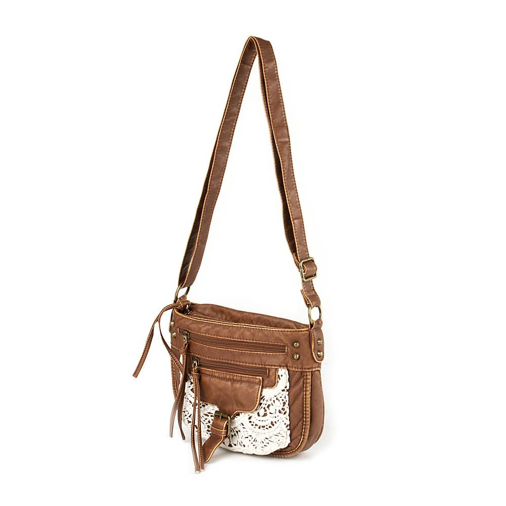 Faux Leather Crossbody Bag with Crochet Detail | Claire's | bags ...