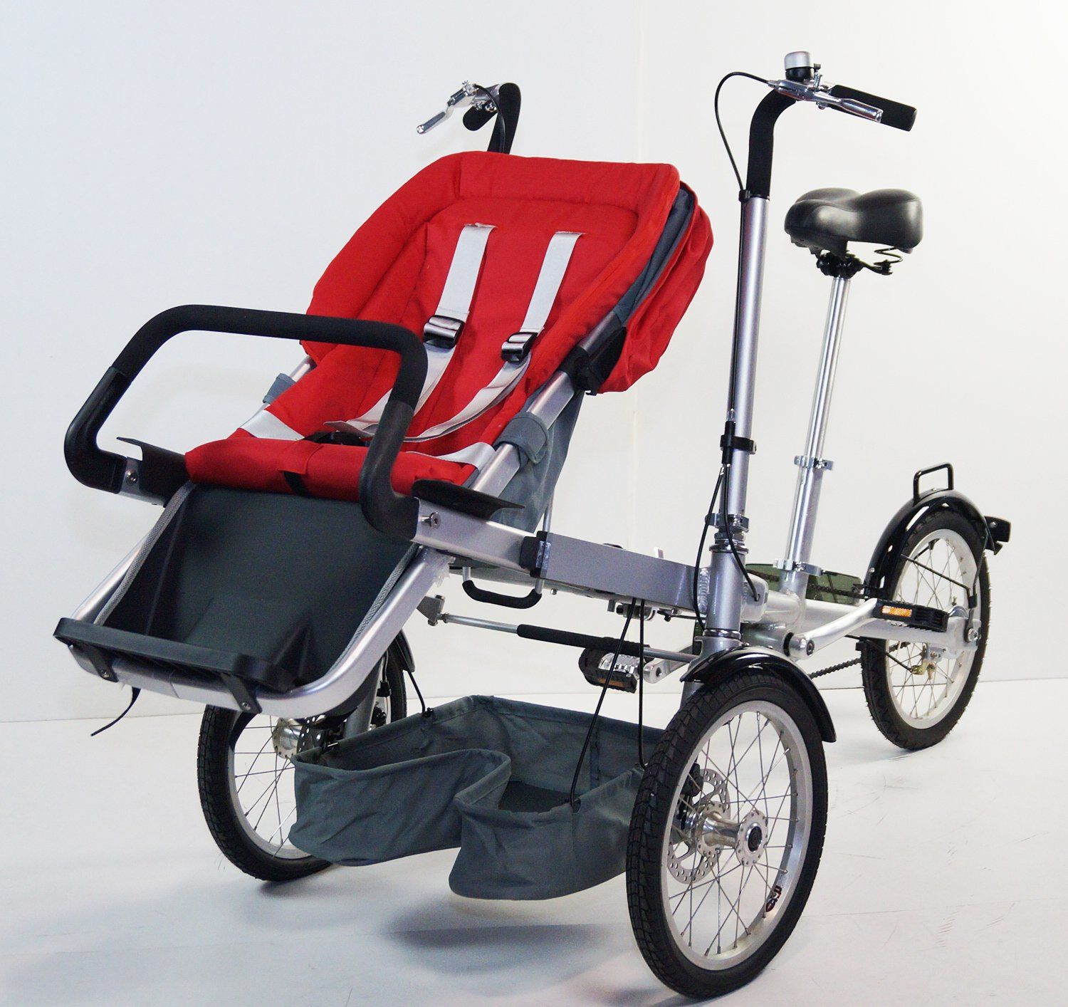 3 Wheels Folding Bicycle Pushchair Mother Baby Stroller