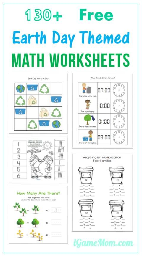 130 Free Earth Day Math Printable Worksheets for Kids  For kids