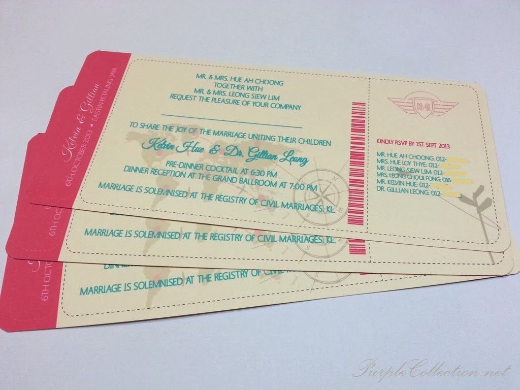 boarding pass wedding card g0578  wedding cards cards