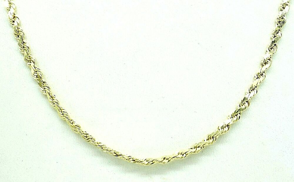 10k Solid Gold Rope Chain 6 8 Gram 2 Mm Wide 20 Inch Long Necklace Lobster Claw Chain Gold Rope Chains Long Necklace Chain