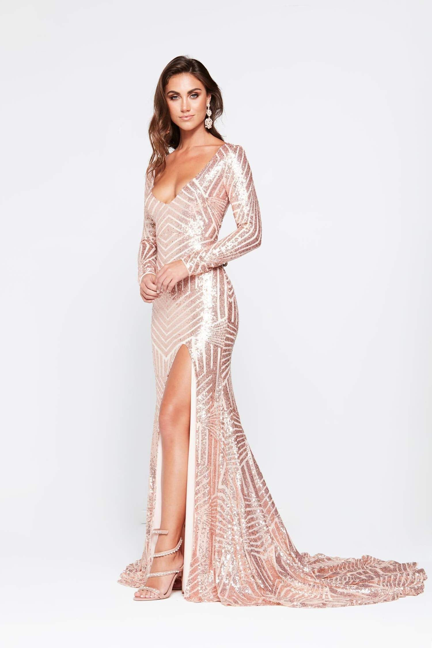 An kaya sequin gown rose gold in 2020 with images